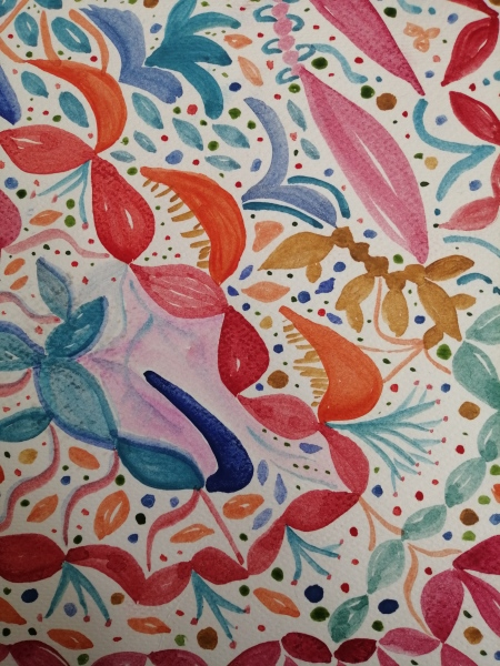 organisk mønster akvarel